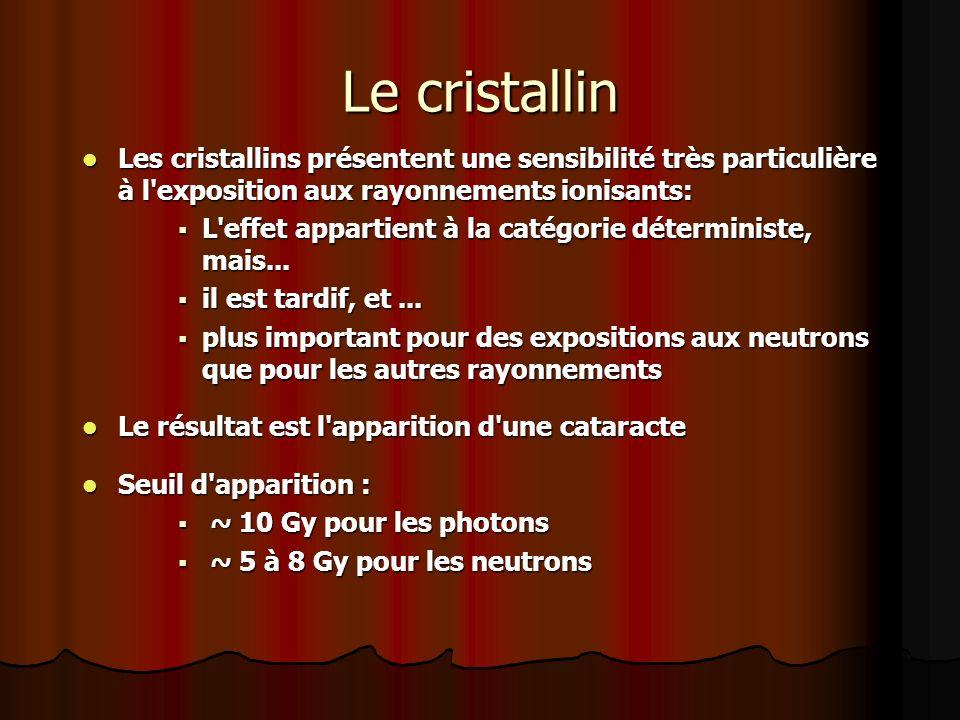 Les cristallins présentent une sensibilité très particulière à l'exposition aux rayonnements ionisants: Les cristallins présentent une sensibilité trè