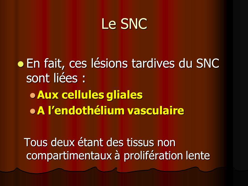 Le SNC En fait, ces lésions tardives du SNC sont liées : En fait, ces lésions tardives du SNC sont liées : Aux cellules gliales Aux cellules gliales A