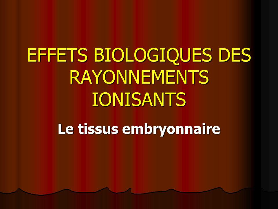 EFFETS BIOLOGIQUES DES RAYONNEMENTS IONISANTS Le tissus embryonnaire