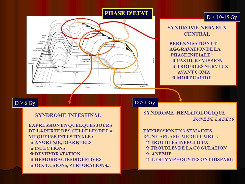 PHASE D'ETAT D > 1 Gy SYNDROME HEMATOLOGIQUE ZONE DE LA DL 50 EXPRESSION EN 3 SEMAINES D'UNE APLASIE MEDULLAIRE : TROUBLES INFECTIEUX TROUBLES DE LA C