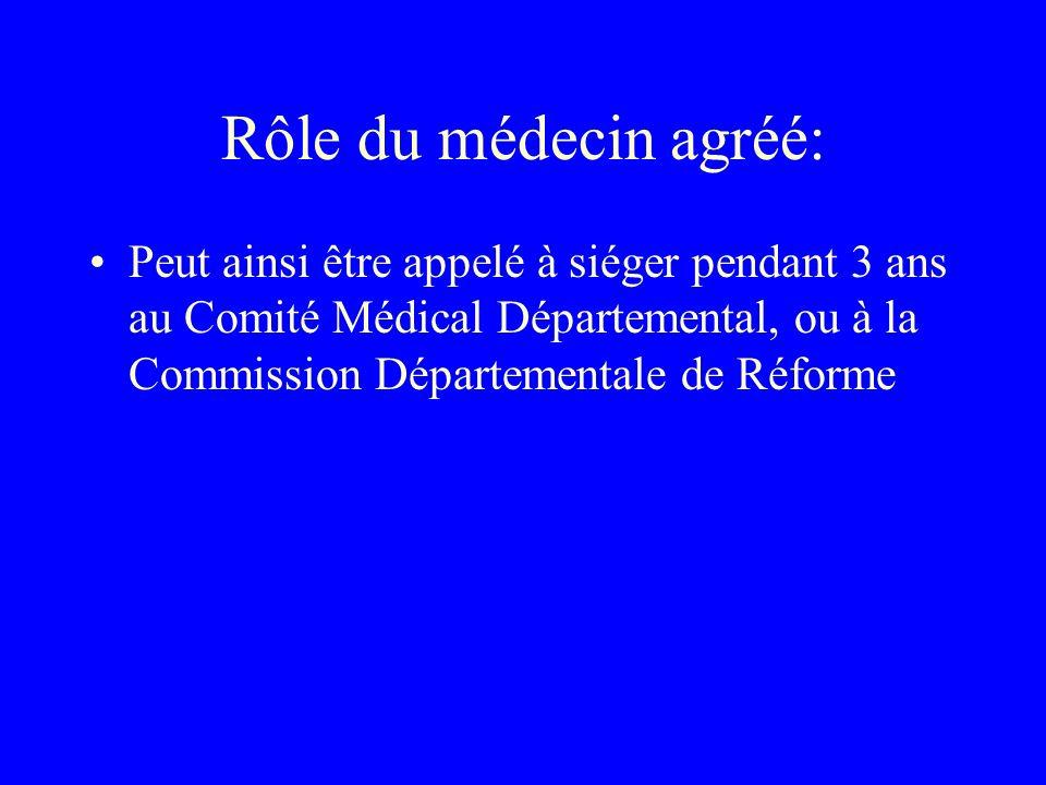 Rôle du médecin agréé: Peut ainsi être appelé à siéger pendant 3 ans au Comité Médical Départemental, ou à la Commission Départementale de Réforme