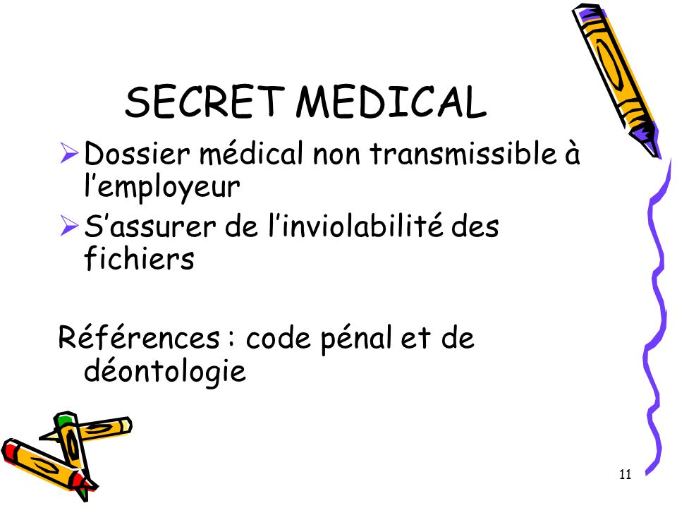11 SECRET MEDICAL Dossier médical non transmissible à lemployeur Sassurer de linviolabilité des fichiers Références : code pénal et de déontologie