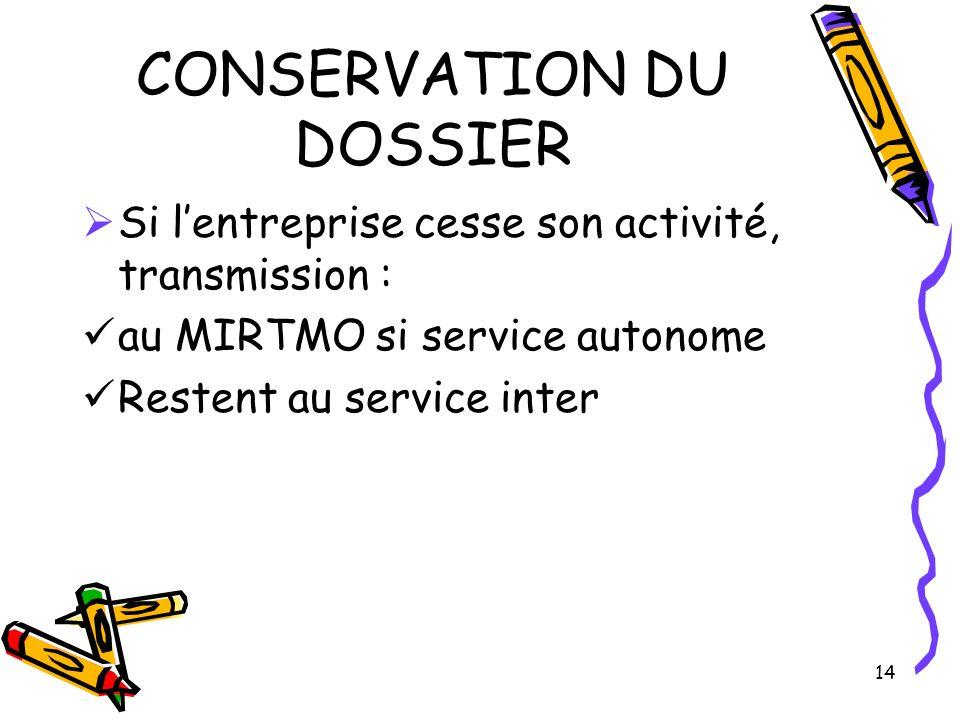 14 CONSERVATION DU DOSSIER Si lentreprise cesse son activité, transmission : au MIRTMO si service autonome Restent au service inter