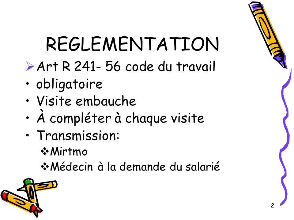 2 REGLEMENTATION Art R 241- 56 code du travail obligatoire Visite embauche À compléter à chaque visite Transmission: Mirtmo Médecin à la demande du sa
