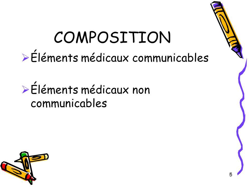 5 COMPOSITION Éléments médicaux communicables Éléments médicaux non communicables