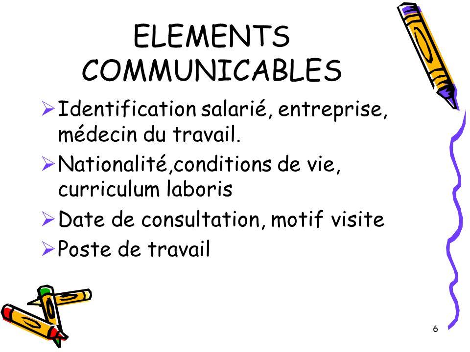 6 ELEMENTS COMMUNICABLES Identification salarié, entreprise, médecin du travail. Nationalité,conditions de vie, curriculum laboris Date de consultatio
