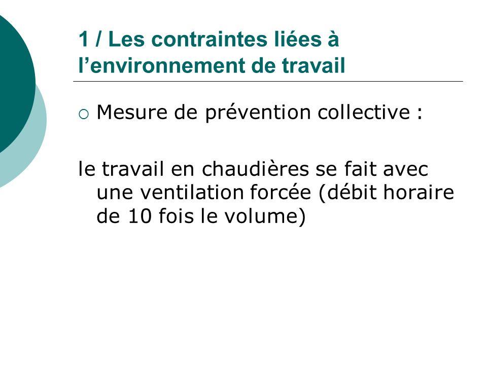 1 / Les contraintes liées à lenvironnement de travail Mesure de prévention collective : le travail en chaudières se fait avec une ventilation forcée (