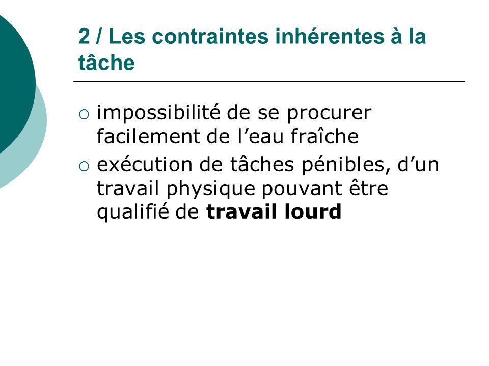 2 / Les contraintes inhérentes à la tâche impossibilité de se procurer facilement de leau fraîche exécution de tâches pénibles, dun travail physique p