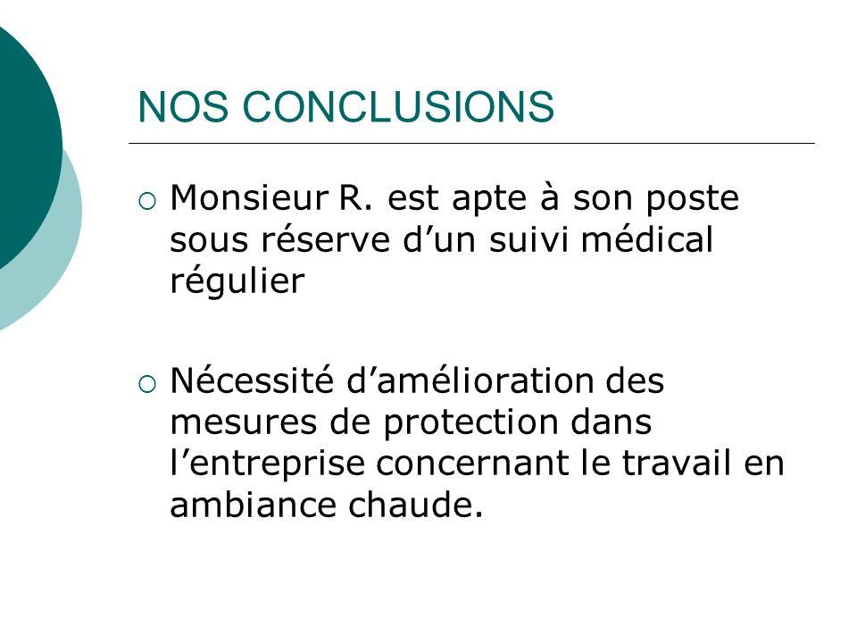 NOS CONCLUSIONS Monsieur R. est apte à son poste sous réserve dun suivi médical régulier Nécessité damélioration des mesures de protection dans lentre