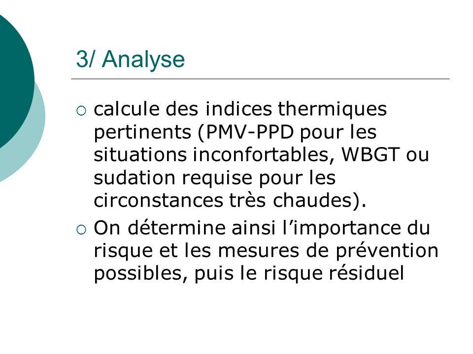 3/ Analyse calcule des indices thermiques pertinents (PMV-PPD pour les situations inconfortables, WBGT ou sudation requise pour les circonstances très