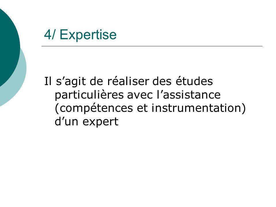4/ Expertise Il sagit de réaliser des études particulières avec lassistance (compétences et instrumentation) dun expert