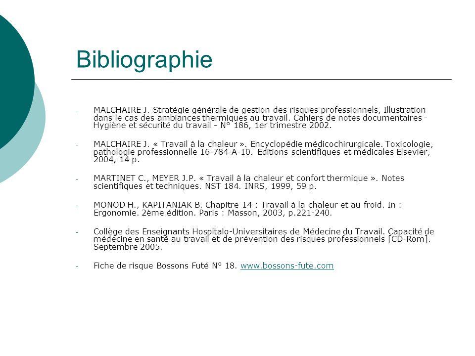Bibliographie - MALCHAIRE J. Stratégie générale de gestion des risques professionnels, Illustration dans le cas des ambiances thermiques au travail. C