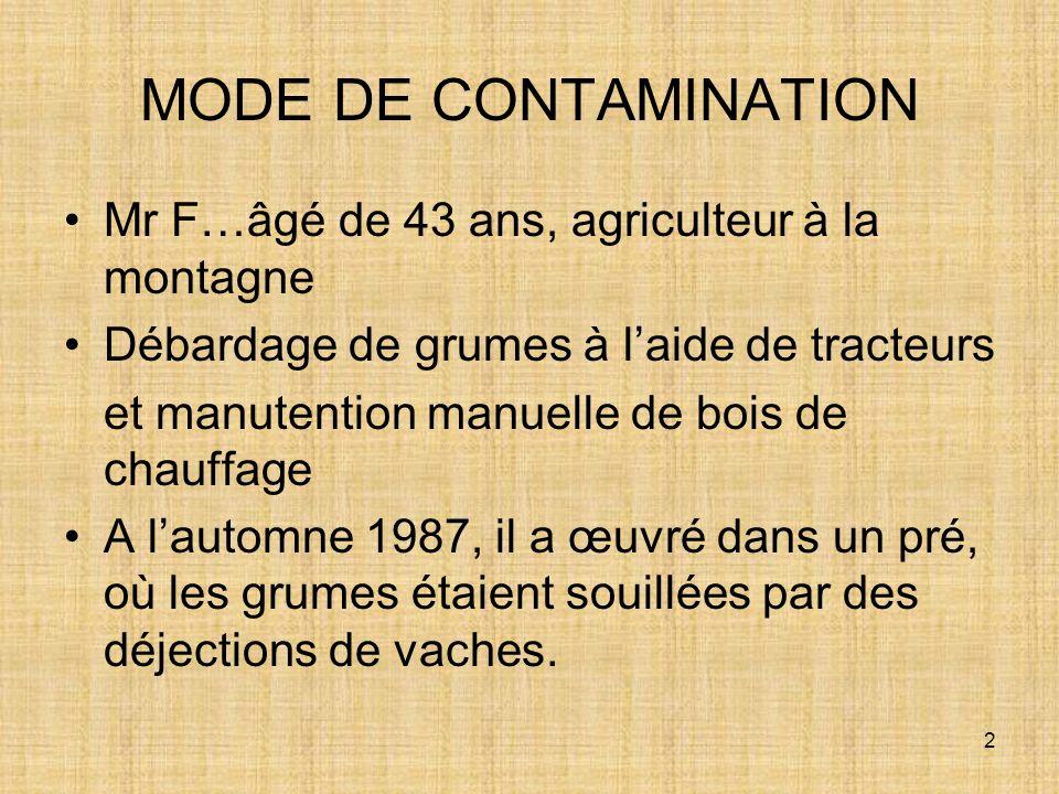 2 MODE DE CONTAMINATION Mr F…âgé de 43 ans, agriculteur à la montagne Débardage de grumes à laide de tracteurs et manutention manuelle de bois de chau