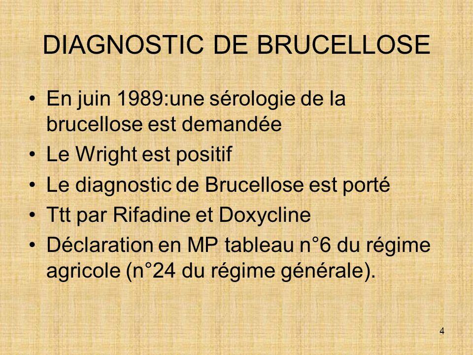 4 DIAGNOSTIC DE BRUCELLOSE En juin 1989:une sérologie de la brucellose est demandée Le Wright est positif Le diagnostic de Brucellose est porté Ttt pa