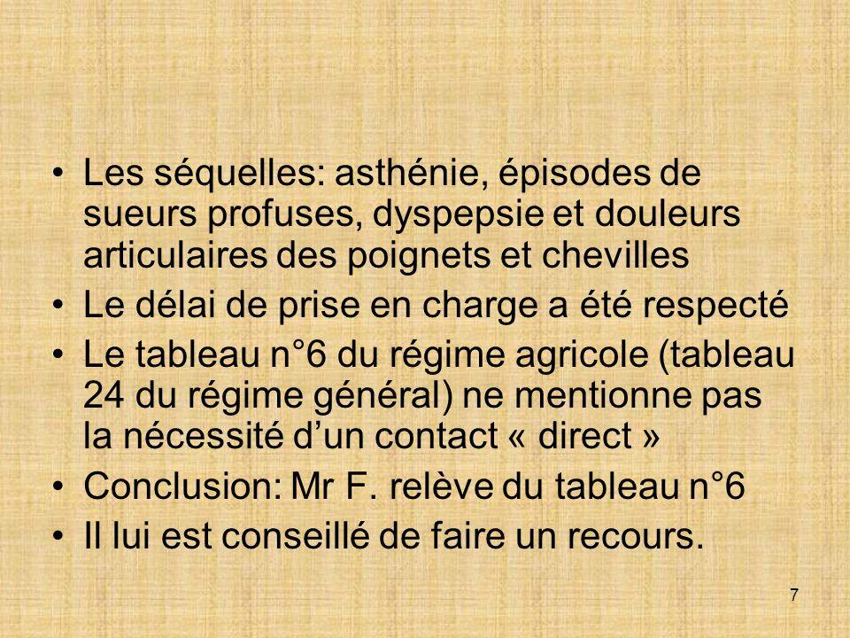 8 MALADIE PROF RECONNUE Le 1 er mars 1990, le tribunal des affaires de sécurité social (TASS) reconnaît que Mr F.