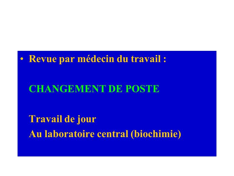 Revue par médecin du travail : CHANGEMENT DE POSTE Travail de jour Au laboratoire central (biochimie)