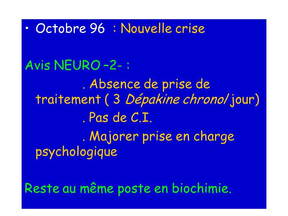 Octobre 96 : Nouvelle crise Avis NEURO –2- :. Absence de prise de traitement ( 3 Dépakine chrono/jour). Pas de C.I.. Majorer prise en charge psycholog