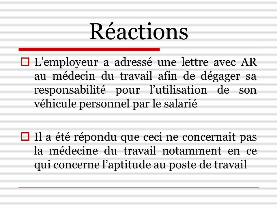 Réactions Lemployeur a adressé une lettre avec AR au médecin du travail afin de dégager sa responsabilité pour lutilisation de son véhicule personnel
