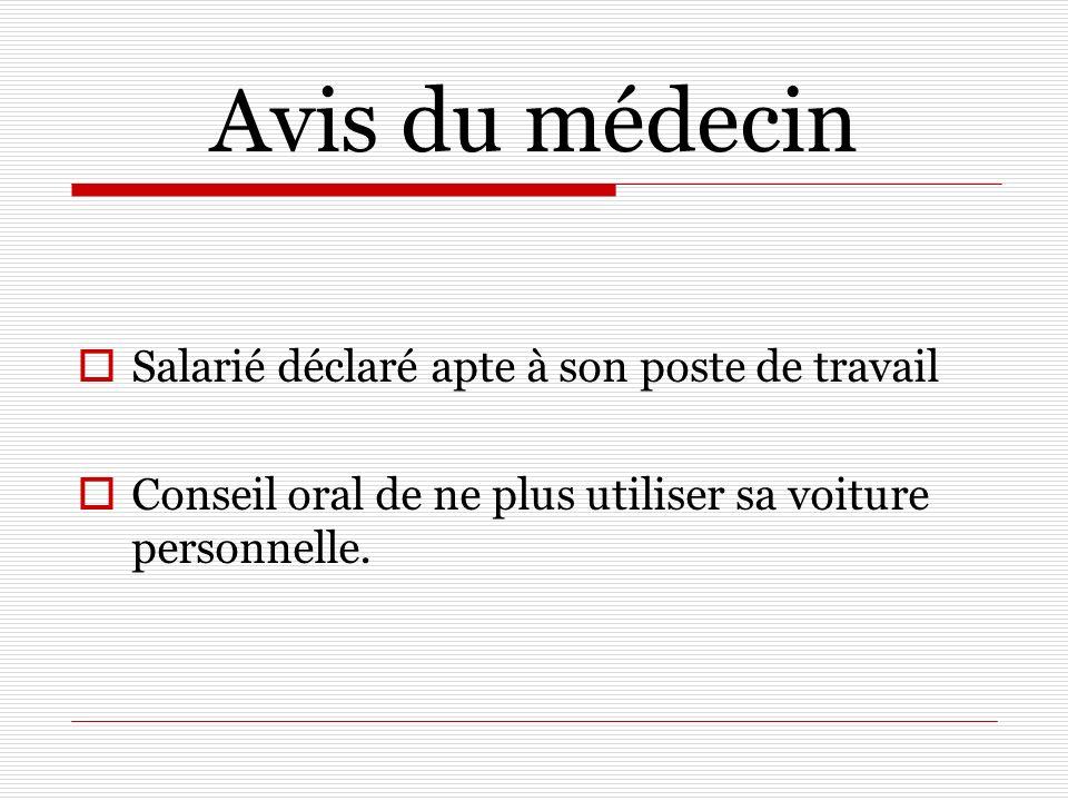 Avis du médecin Salarié déclaré apte à son poste de travail Conseil oral de ne plus utiliser sa voiture personnelle.
