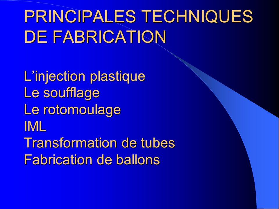 PRINCIPALES TECHNIQUES DE FABRICATION Linjection plastique Le soufflage Le rotomoulage IML Transformation de tubes Fabrication de ballons