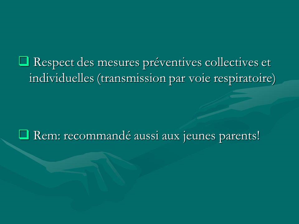Respect des mesures préventives collectives et individuelles (transmission par voie respiratoire) Respect des mesures préventives collectives et indiv