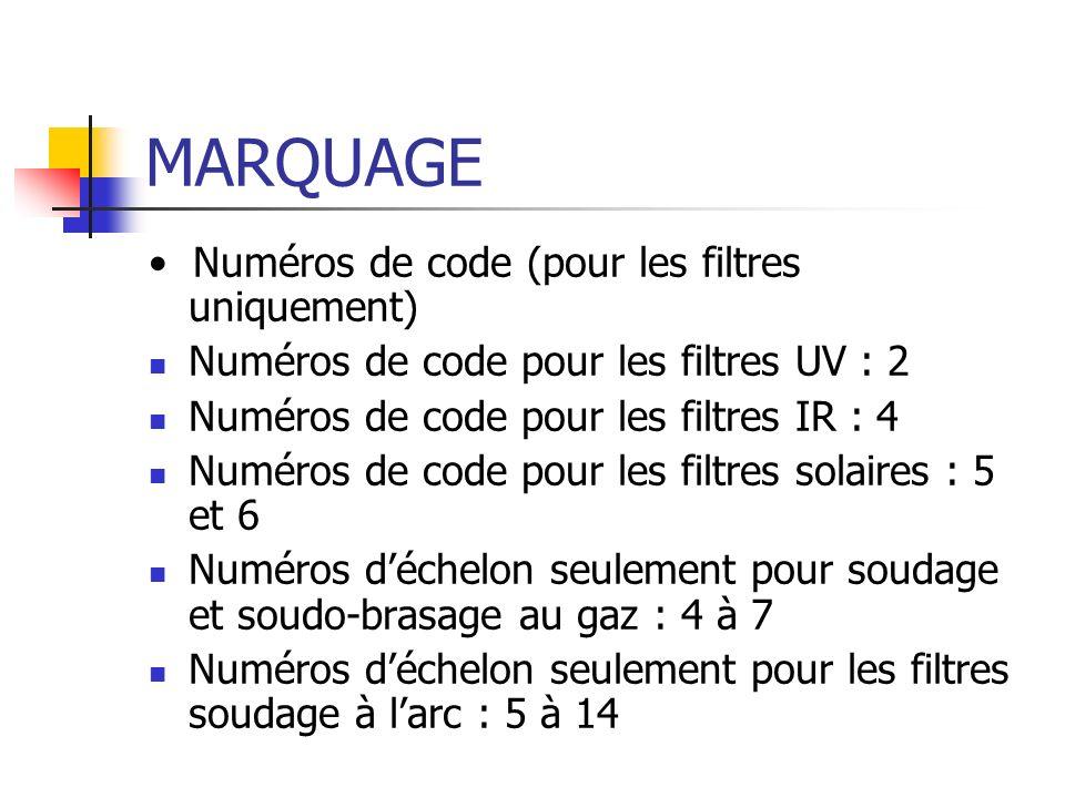 MARQUAGE Numéros de code (pour les filtres uniquement) Numéros de code pour les filtres UV : 2 Numéros de code pour les filtres IR : 4 Numéros de code