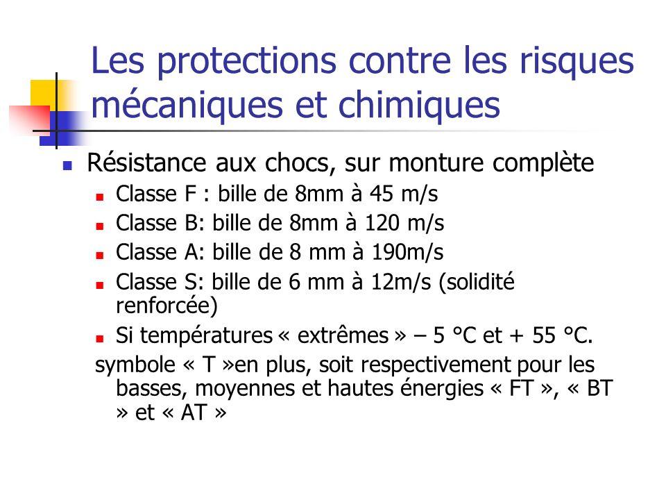 Les protections contre les risques mécaniques et chimiques Résistance aux chocs, sur monture complète Classe F : bille de 8mm à 45 m/s Classe B: bille