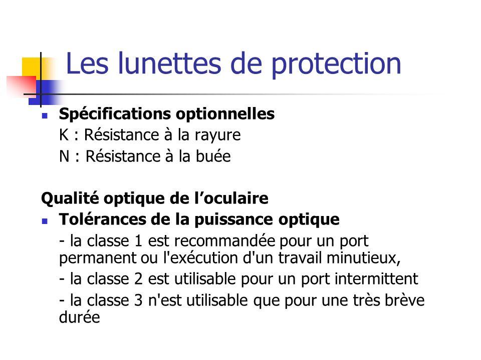 Les lunettes de protection Spécifications optionnelles K : Résistance à la rayure N : Résistance à la buée Qualité optique de loculaire Tolérances de