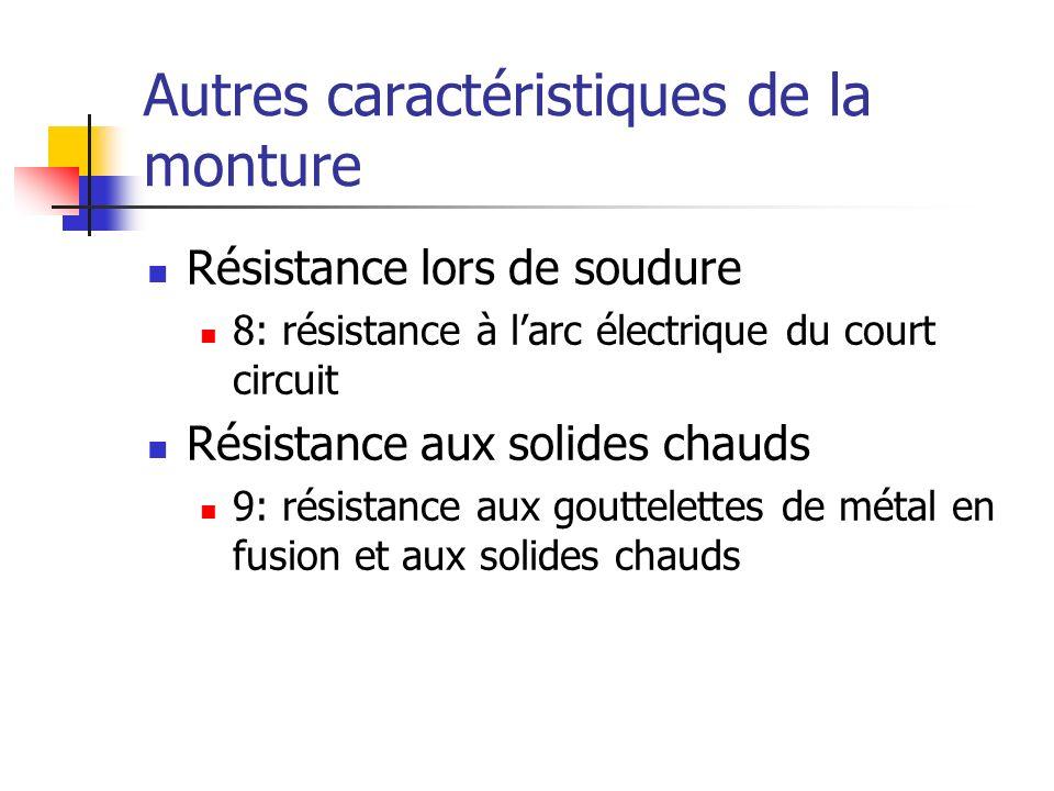 Autres caractéristiques de la monture Résistance lors de soudure 8: résistance à larc électrique du court circuit Résistance aux solides chauds 9: rés