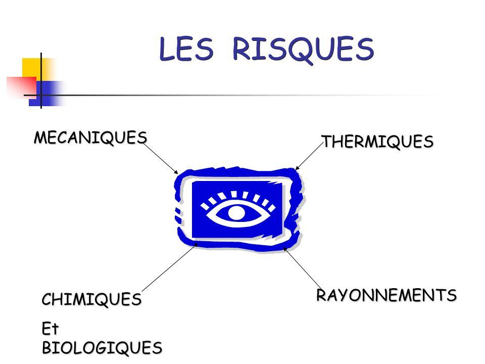 LES RISQUES MECANIQUES CHIMIQUES Et BIOLOGIQUES THERMIQUES RAYONNEMENTS