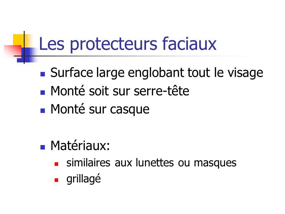 Les protecteurs faciaux Surface large englobant tout le visage Monté soit sur serre-tête Monté sur casque Matériaux: similaires aux lunettes ou masque
