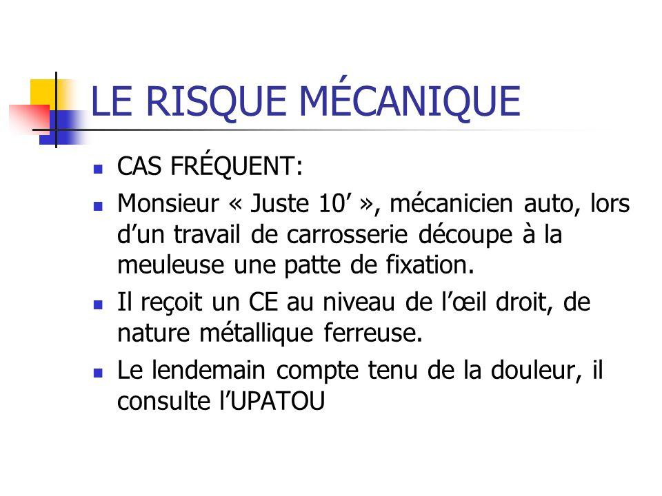 LE RISQUE MÉCANIQUE CAS FRÉQUENT: Monsieur « Juste 10 », mécanicien auto, lors dun travail de carrosserie découpe à la meuleuse une patte de fixation.