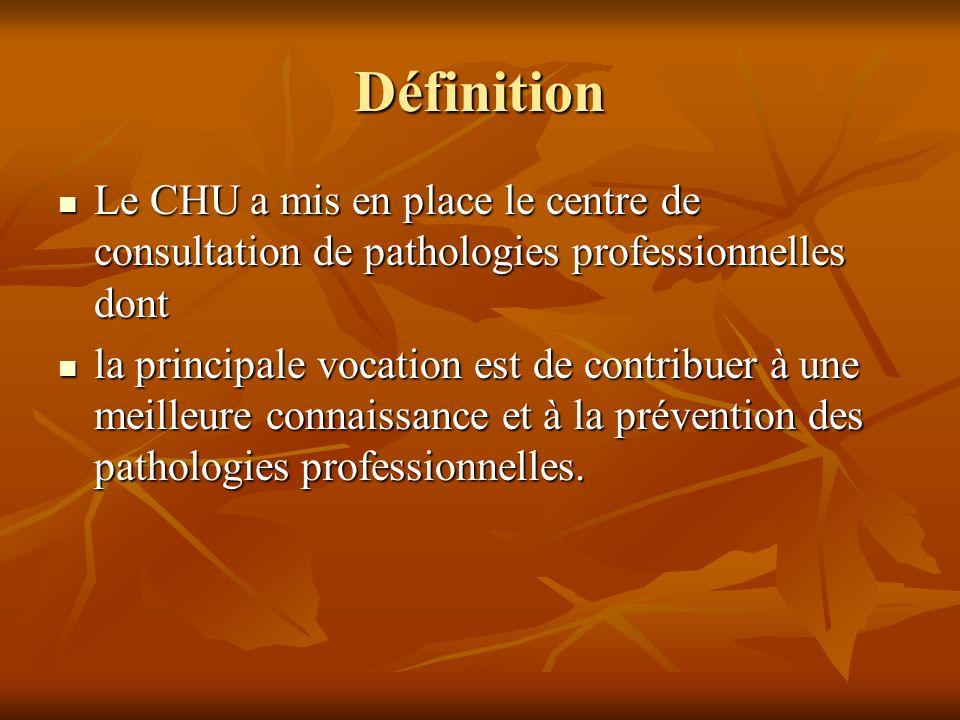 Définition Le CHU a mis en place le centre de consultation de pathologies professionnelles dont Le CHU a mis en place le centre de consultation de pat