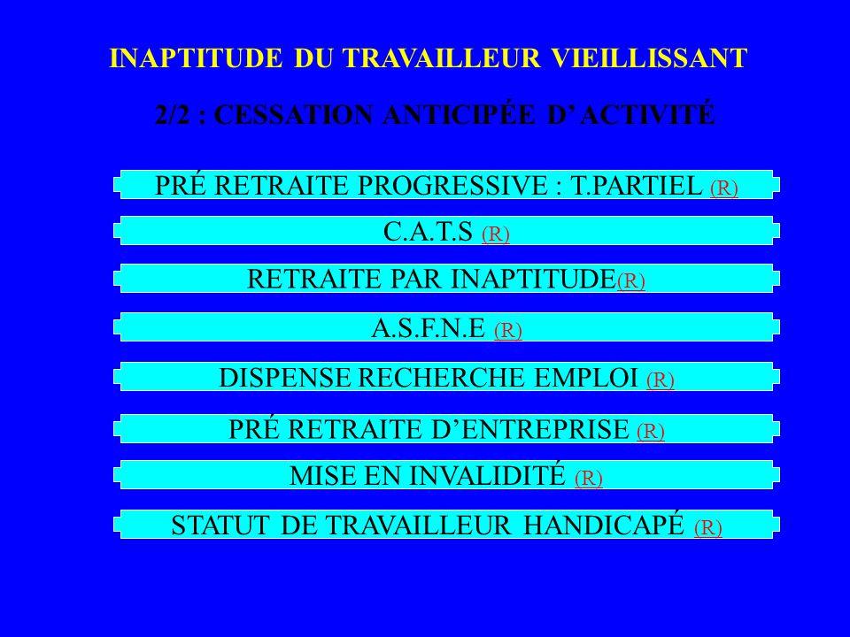 INAPTITUDE DU TRAVAILLEUR VIEILLISSANT 2/2 : CESSATION ANTICIPÉE D ACTIVITÉ PRÉ RETRAITE PROGRESSIVE : T.PARTIEL (R) (R) INA PTI TU DE_ 2 C.A.T.S (R) (R) RETRAITE PAR INAPTITUDE (R) (R) A.S.F.N.E (R) (R) DISPENSE RECHERCHE EMPLOI (R) (R) PRÉ RETRAITE DENTREPRISE (R) (R) MISE EN INVALIDITÉ (R) (R) STATUT DE TRAVAILLEUR HANDICAPÉ (R) (R)