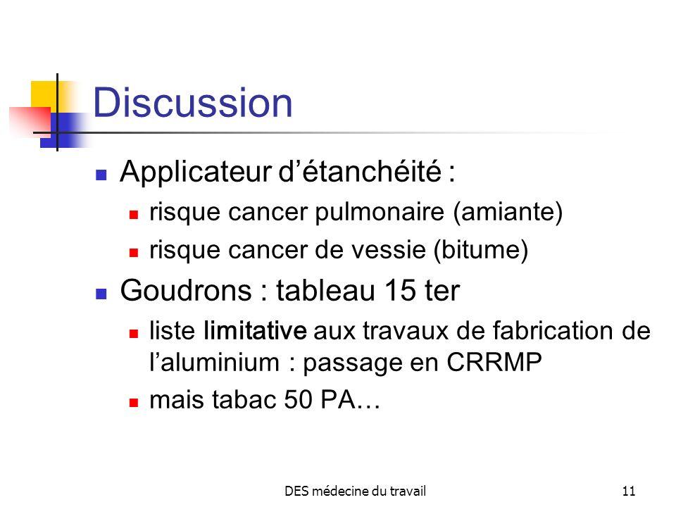 DES médecine du travail11 Discussion Applicateur détanchéité : risque cancer pulmonaire (amiante) risque cancer de vessie (bitume) Goudrons : tableau
