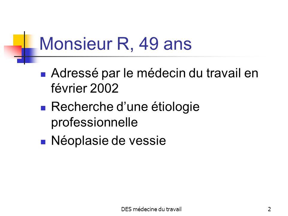 DES médecine du travail2 Monsieur R, 49 ans Adressé par le médecin du travail en février 2002 Recherche dune étiologie professionnelle Néoplasie de ve
