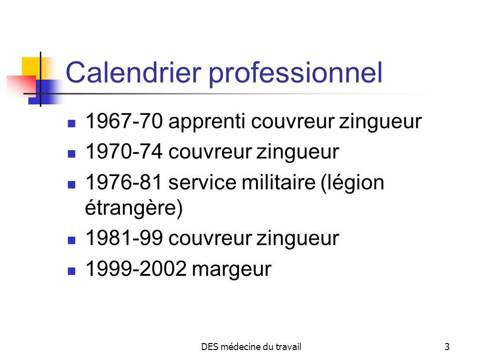 DES médecine du travail3 Calendrier professionnel 1967-70 apprenti couvreur zingueur 1970-74 couvreur zingueur 1976-81 service militaire (légion étran