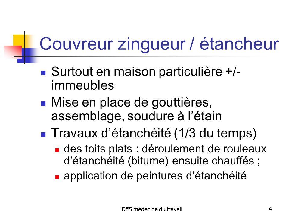 DES médecine du travail4 Couvreur zingueur / étancheur Surtout en maison particulière +/- immeubles Mise en place de gouttières, assemblage, soudure à