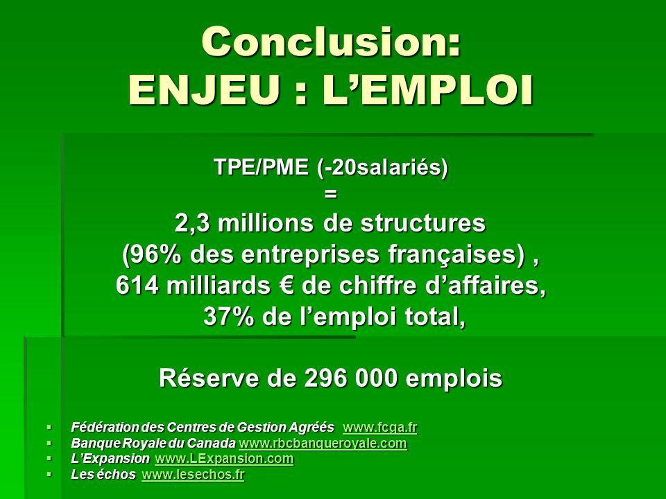 Conclusion: ENJEU : LEMPLOI TPE/PME (-20salariés) = 2,3 millions de structures (96% des entreprises françaises), 614 milliards de chiffre daffaires, 37% de lemploi total, 37% de lemploi total, Réserve de 296 000 emplois Fédération des Centres de Gestion Agréés www.fcga.fr Fédération des Centres de Gestion Agréés www.fcga.frwww.fcga.fr Banque Royale du Canada www.rbcbanqueroyale.com Banque Royale du Canada www.rbcbanqueroyale.comwww.rbcbanqueroyale.com LExpansion www.LExpansion.com LExpansion www.LExpansion.comwww.LExpansion.com Les échos www.lesechos.fr Les échos www.lesechos.frwww.lesechos.fr