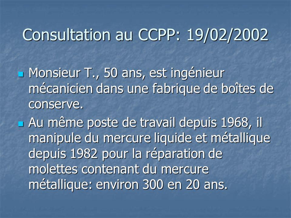 Consultation au CCPP: 19/02/2002 Monsieur T., 50 ans, est ingénieur mécanicien dans une fabrique de boîtes de conserve. Monsieur T., 50 ans, est ingén
