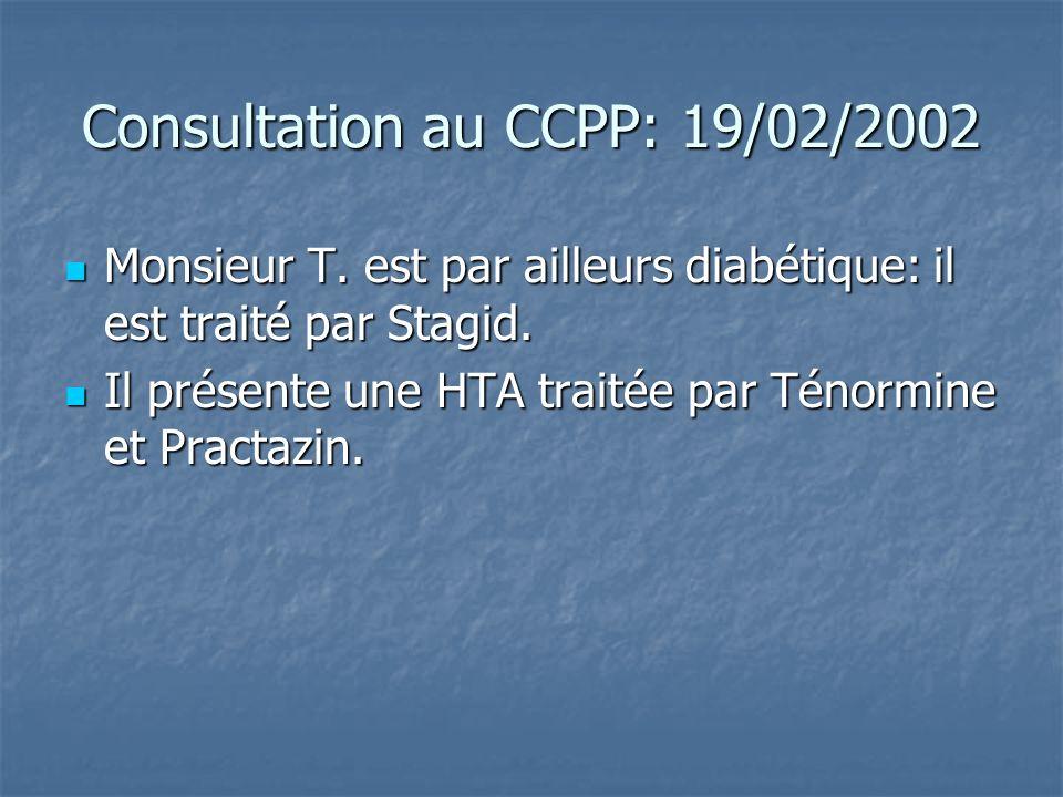 Consultation au CCPP: 19/02/2002 Monsieur T. est par ailleurs diabétique: il est traité par Stagid. Monsieur T. est par ailleurs diabétique: il est tr