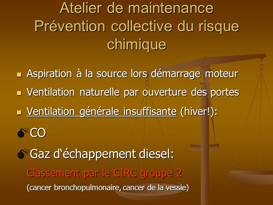 Atelier de maintenance Prévention collective du risque chimique Aspiration à la source lors démarrage moteur Aspiration à la source lors démarrage mot