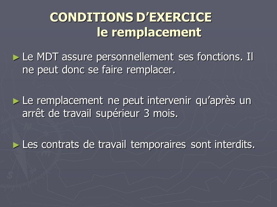 CONDITIONS DEXERCICE le remplacement CONDITIONS DEXERCICE le remplacement Le MDT assure personnellement ses fonctions. Il ne peut donc se faire rempla