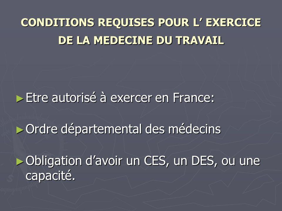 CONDITIONS REQUISES POUR L EXERCICE DE LA MEDECINE DU TRAVAIL Etre autorisé à exercer en France: Etre autorisé à exercer en France: Ordre départementa