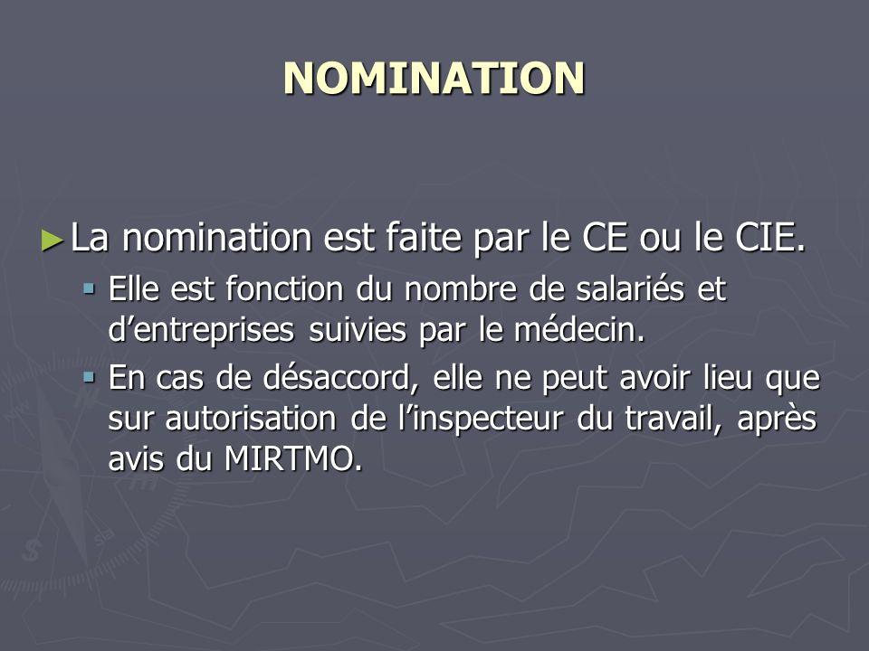NOMINATION La nomination est faite par le CE ou le CIE. La nomination est faite par le CE ou le CIE. Elle est fonction du nombre de salariés et dentre