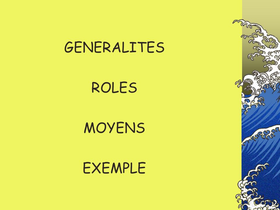 GENERALITES ROLES MOYENS EXEMPLE