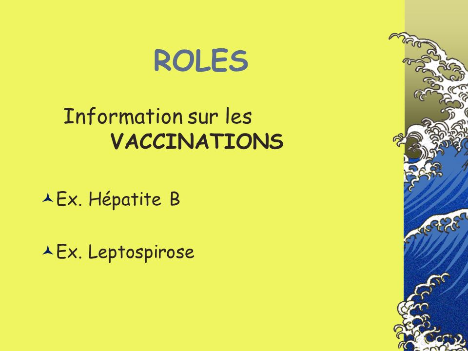 ROLES Information sur les VACCINATIONS Ex. Hépatite B Ex. Leptospirose
