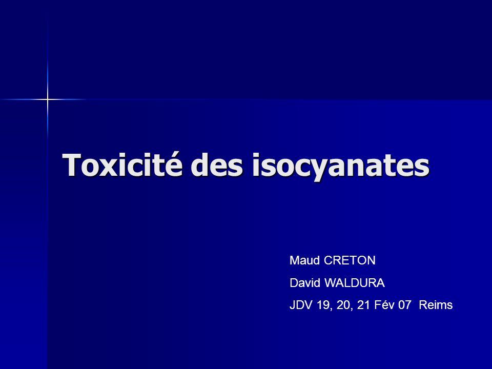 Plan Généralités Généralités Toxicité aiguë Toxicité aiguë –Toxicité du methylisocyanate –Toxicité dautres isocyanates Toxicité chronique Toxicité chronique –Cas clinique –Rappel théorique