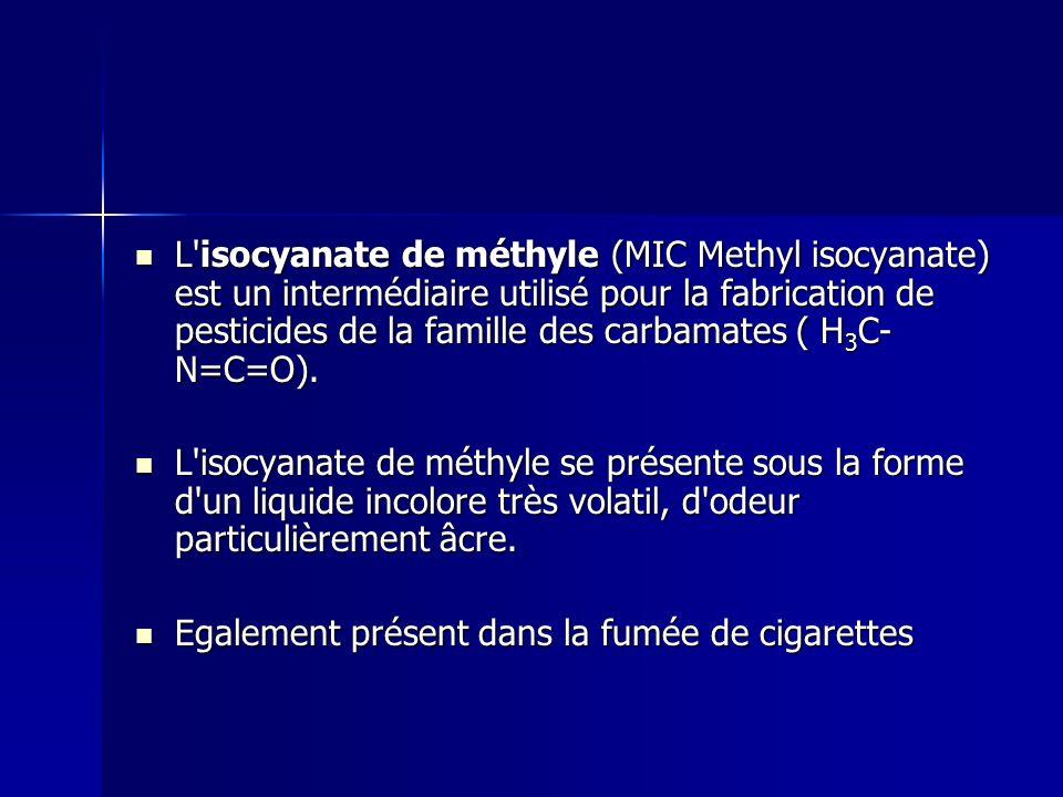 L'isocyanate de méthyle (MIC Methyl isocyanate) est un intermédiaire utilisé pour la fabrication de pesticides de la famille des carbamates ( H 3 C- N
