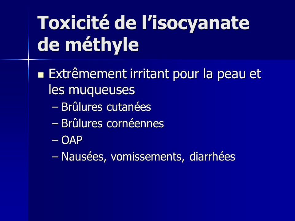 Toxicité de lisocyanate de méthyle Extrêmement irritant pour la peau et les muqueuses Extrêmement irritant pour la peau et les muqueuses –Brûlures cut